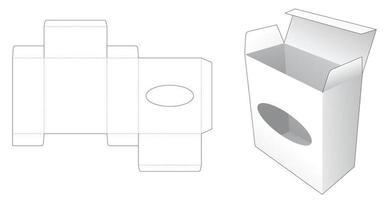 plantilla troquelada de ventana en forma de caja y elipse vector