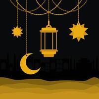 eid mubarak oro suspensión linterna luna y estrellas diseño vectorial vector