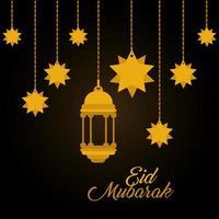 Eid mubarak oro suspensión linterna y estrellas diseño vectorial vector