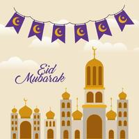 Eid mubarak temple with moon and banner pennant vector design
