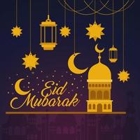 Eid mubarak temple lanterns stars and moon hanging vector design