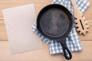 Cast iron skillet with menu mock-up