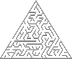 Vector backdrop with a gray triangular 3D maze, labyrinth.
