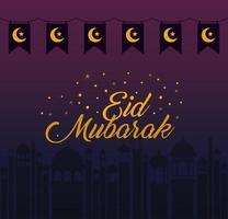 Banderín de banner de lunas y estrellas de eid mubarak con diseño de vector de silueta de edificios