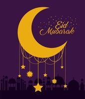 Eid mubarak moon con estrellas y diseño de vectores de edificios de la ciudad