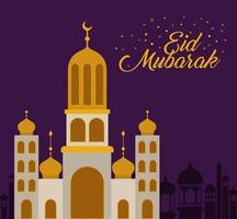 Eid mubarak temple with moon and city buildings vector design