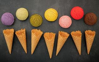 Colorful ice cream and cones photo