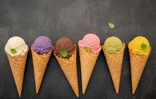 Colorful ice cream and copy space photo