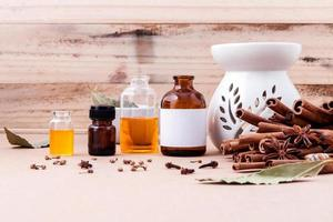 Essential oils and cinnamon photo