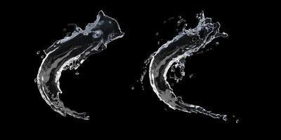 Water splashing on black background photo
