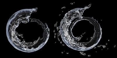 salpicaduras de agua sobre fondo negro foto