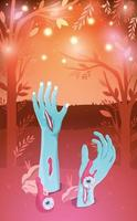 manos y ojos de zombies saliendo del suelo vector