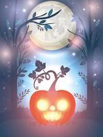 Halloween pumpkin glowing over night background vector