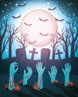 Halloween scary design with zombie hands coming out of the ground vector