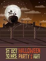 halloween party scene with graveyard vector