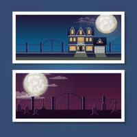 halloween banner set with night scenes vector