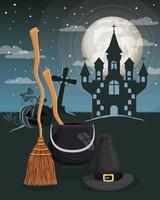 halloween season scene with castle night vector
