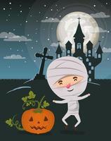 halloween season scene with kid in a mummy costume vector