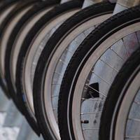 Close up of bicycle wheels photo