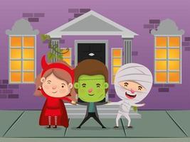 halloween season scene with kids on the streets vector