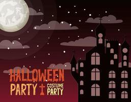 halloween season card with castle in dark night scene vector