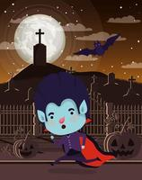 escena de la temporada de halloween con niño disfrazado de vampiro vector