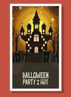 halloween card with dark castle scene vector