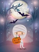 halloween season scene with boy in a mummy costume vector