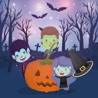 halloween scene with kids in costumes in the cemetery vector