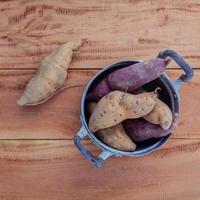 Top view of sweet potatoes photo