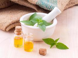 Mint essential oil concept photo