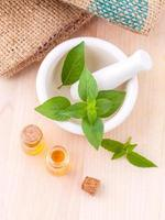 Top view of mint essential oil photo