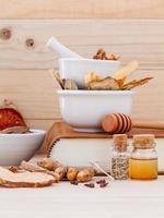 Bowls of alternative medicine photo