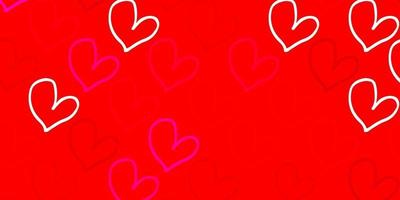Light Pink, Red vector backdrop with sweet hearts.
