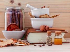 Alternative medicine and books photo