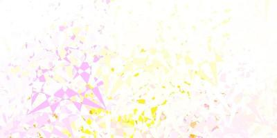 Light pink, yellow vector pattern with polygonal shapes.