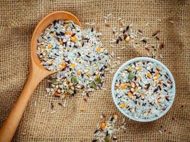 Colorful multigrain rice top view photo