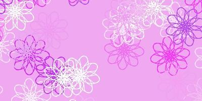 Light Purple vector doodle pattern with flowers.