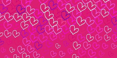 Light Purple, Pink vector background with Shining hearts.