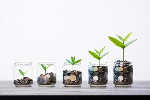 Row of glass jars each holding increasing amount of coins with seedlings on a table photo