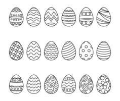 huevos de pascua, conjunto, doodle, estilo vector