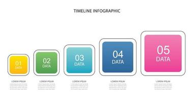 5 data infographics square step growth success template design vector
