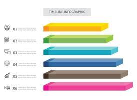 6 data infographics rectangle step growth success template design vector