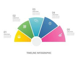 5 data infographics step growth business template design vector