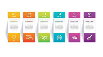 Infographics tab in vertical paper index with 6 data template vector