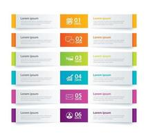 Infographics tab in horizontal paper index with 6 data template vector