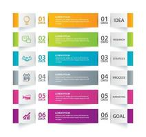 Infographics tab in horizontal paper index with 6 data template set vector