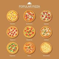 Different pizza set vector