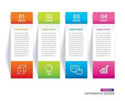 Infographics tab in vertical paper index with 4 data template set vector
