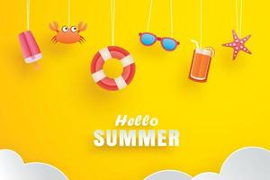 Hello summer with decoration origami hanging on yellow background vector